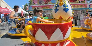 Photo of boy on spinning cups at the San Mateo County Fair. Source: Bob n Renee, Flickr