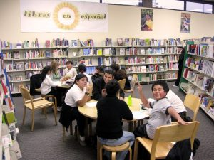 Students and tutors at the East Palo Alto Library Quest Learning Center.